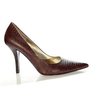 Nine West Embossed Leather Brown Pumps Size 7.5